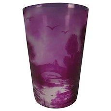 Signed c1910 Amethyst Cameo Scenic Art Glass Tumbler