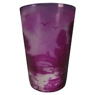 Signed c1910 Amethyst Cameo Scenic Art Glass Tumbler