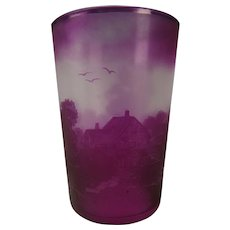 Antique French Signed Amethyst Cameo Glass Tumbler Castets