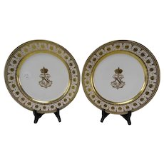 c1870 Sevres Porcelain Dinner Plates Napoleon III Unusual and Authentic