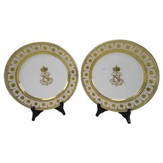 Antique Napoleon III Sevres Porcelain Shell Gilt Plates