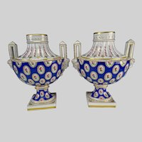 Antique German Ludwigsburg Bust Porcelain Vase Pair 19c