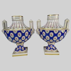 Antique German Ludwigsburg Bust Porcelain Vase Pair 19c