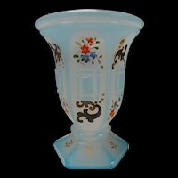 c1850 Bohemian Glass Blue Alabaster Overlay and Enamel Painted Beaker Vase
