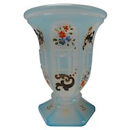 c1850 Bohemian Glass Blue Alabaster Overlay and Enamel Painted Beaker Vase