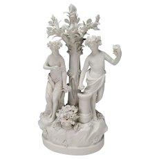 Antique Parian Figural Group Sculpture Blanc de Chine Figurines c1850