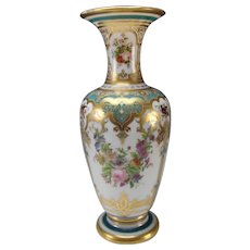 "20"" Antique Baccarat Jean Francois Robert Hand Painted Opaline Glass Vase c1855"