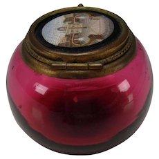 Antique Venetian Micro Mosaic Micromosaic Lidded Cranberry Glass Vanity Jar Box