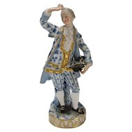 Antique Meissen Man Blue White with Elegant Gold Lace Jacket Coat Figurine