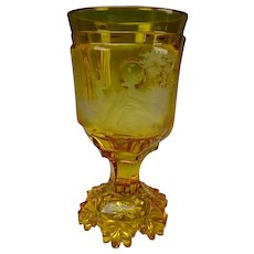 c1850 Bohemian Amber Chalice Engraved to Clear Glass Goblet