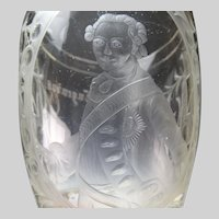Antique 19c Historismus Portrait Engraved Glass Pokal Vase