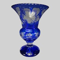 Antique Bohemian Overlay Intaglio Cut Engraved to Clear Glass Vase