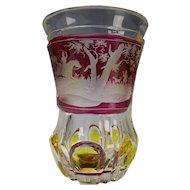Mid 19c Antique Egermann Engraved Glass Beaker