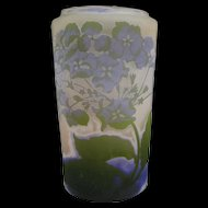Antique Galle Cameo Glass Vase Tri Fold 4 Color c1900 French