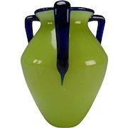 Art Deco Loetz Powolny Cobalt and Vaseline/Lime Green Glass 3 Handled Vase