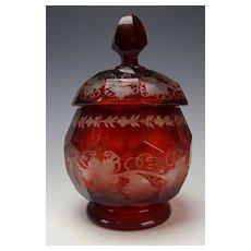 Antique Boston & Sandwich Ruby Glass Lidded Jar c1850 Scarce!