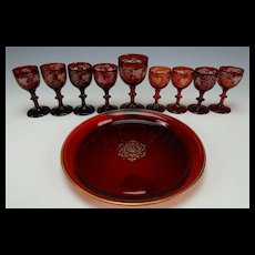 c1880 Bohemian Moser Ruby Glass Drink Set Tray/Plate and 9 Wine Stems Cordials