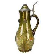"14"" Antique Theresienthal Enamel and Gilt Glass Beer Stein Pitcher"