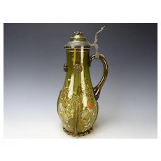 """14"""" Antique Theriesenthal Enamel and Gilt Glass Beer Stein Pitcher"""