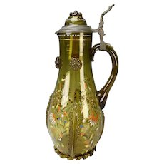 "14"" Antique Theriesenthal Enamel and Gilt Glass Beer Stein Pitcher"