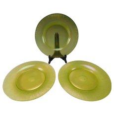 Antique Fenton or Northwood Carnival Topaz or Vaseline Uranium Stretch Glass Plate Plates