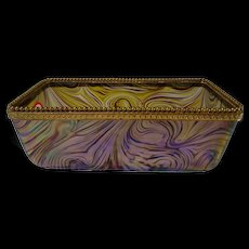 Antique Kralik Iridescent Art Glass Toast Rack or Flower Box
