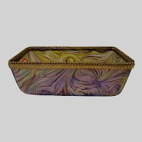 Antique Loetz Kralik Iridescent Art Glass Vase Box