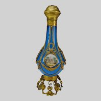 c1850 French Gilt Ormolu Mounted Blue Opaline Glass Perfume Scent Bottle 10""