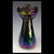 Art Nouveau Rindskopf Amethyst Loop Jugendstil Bronze Mounted Glass Vase Authentic!