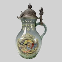 Antique Bohemian Enamel Dragon/Snake Glass Stein Pewter Lid c1900