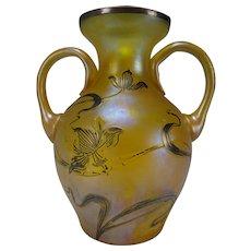 Art Nouveau Silver Overlay Loetz Riedel Iridescent Glass Cabinet Vase Jugendstil