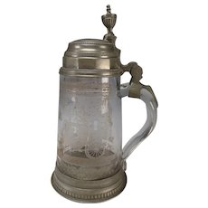 Antique 18c Bohemian Etched Engraved Glass Beer Stein Mug