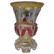 Biedermeier Egermann Glass Enamel Chinese Jugglers Carnival Acrobats c1830s