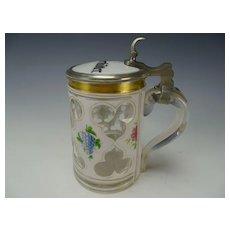 Antique Bohemian Cased Hand Van Dyke Cut Painted Glass Beer Stein Handled Lidded Mug