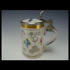 Antique Bohemian Cased Hand Van Dyke Cut Painted Glass Beer Stein Handled Lidded Mug