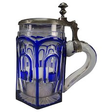 Antique Bohemian Blue Glass Cut to Clear Engraved Panel Pewter Lidded Beer Stein