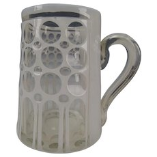 Antique Bohemian Cased Harrach White Glass Cut to Clear Beer Stein Mug