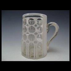 Antique Bohemian Cased Harrach White Glass Cut to Clear Beer Stein Mug