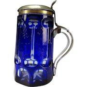 Antique Bohemian Cobalt Blue Cut to Clear 19c Glass Beer Mug Stein