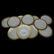 Antique Wheeling West Virginia Thurm Porcelain Gold Relief Gilt Rim China Plate Set of 11