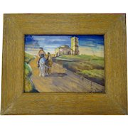 Antique Spanish Tile Painting Daniel Zuloaga Arts Crafts c1900 Framed Pottery Plaque