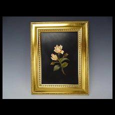 Antique Italian Pietra Dura Stone Roses Floral Bouquet Mosaic c1910 Artist Signed