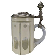 Antique c1890 Bohemian Enamel Overlay Cut to Clear Pewter Lidded Glass Beer Stein Mug