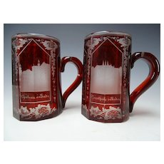 Antique 19c Egermann Cut Beveled Architectural Grand Tour Ruby Cut to Clear Glass Beer Stein Pair
