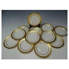 Antique Lenox China Porcelain Raised Gold Trim Border Trim Bread Plates Set of 12 Pre 1930