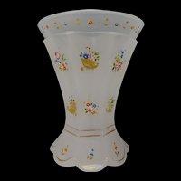 Antique c1850 Bohemian Opaline Enameled and Gilt Glass Beaker Vase