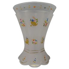 Antique c1850 Bohemian Opaline Enamel and Gilt Decorated Glass Beaker Vase