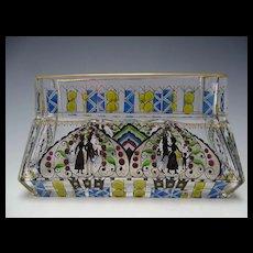 Secessionist Haida Hand Painted Enamel Glass Window Box