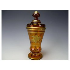 Fine 19c Antique Bohemian Gilt Glass Pokal Lidded Beaker