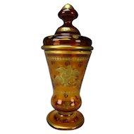 Fine 19c Antique Bohemian Gilt Glass Pokal Lidded Beaker